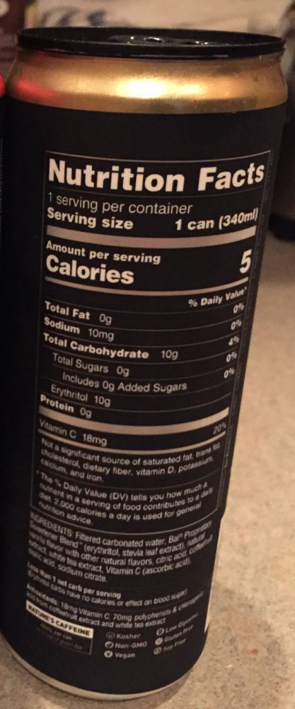 low carb bai cream soda back of can