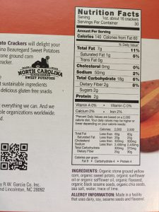 low-carb sweet potato crackers back of box